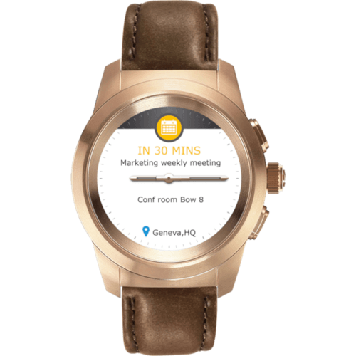 MyKronoz ZETIME Premium Regular brushed brown Vintage Leather Pink/Gold